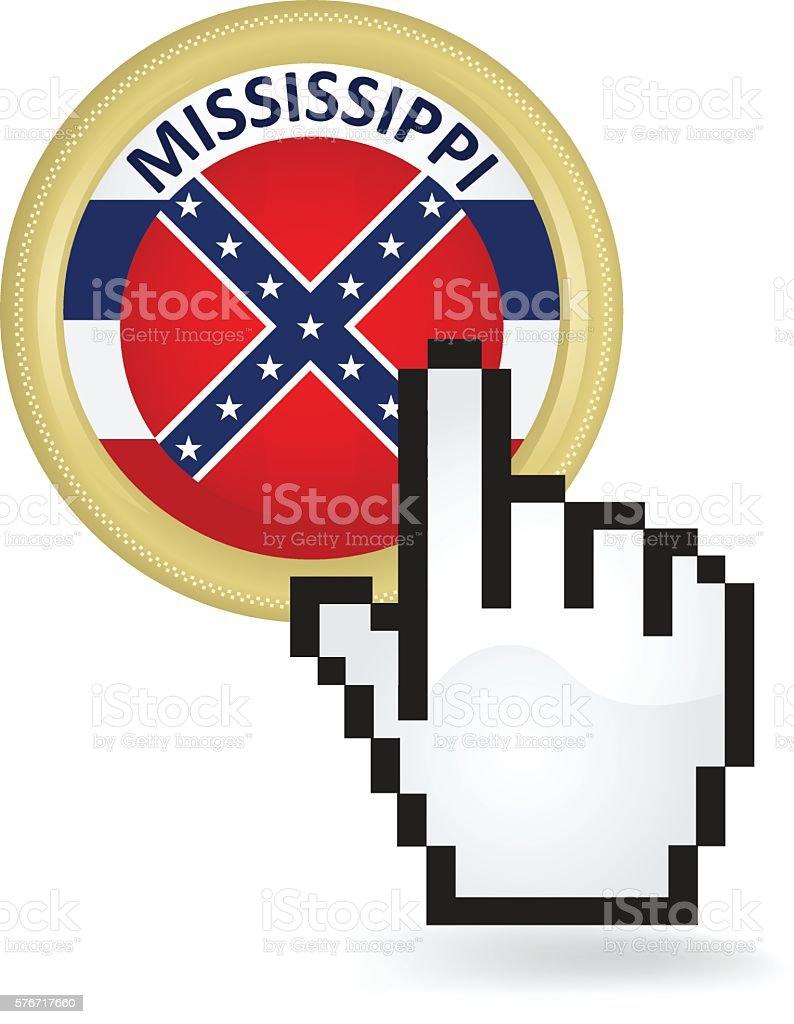 Mississippi Button Click vector art illustration