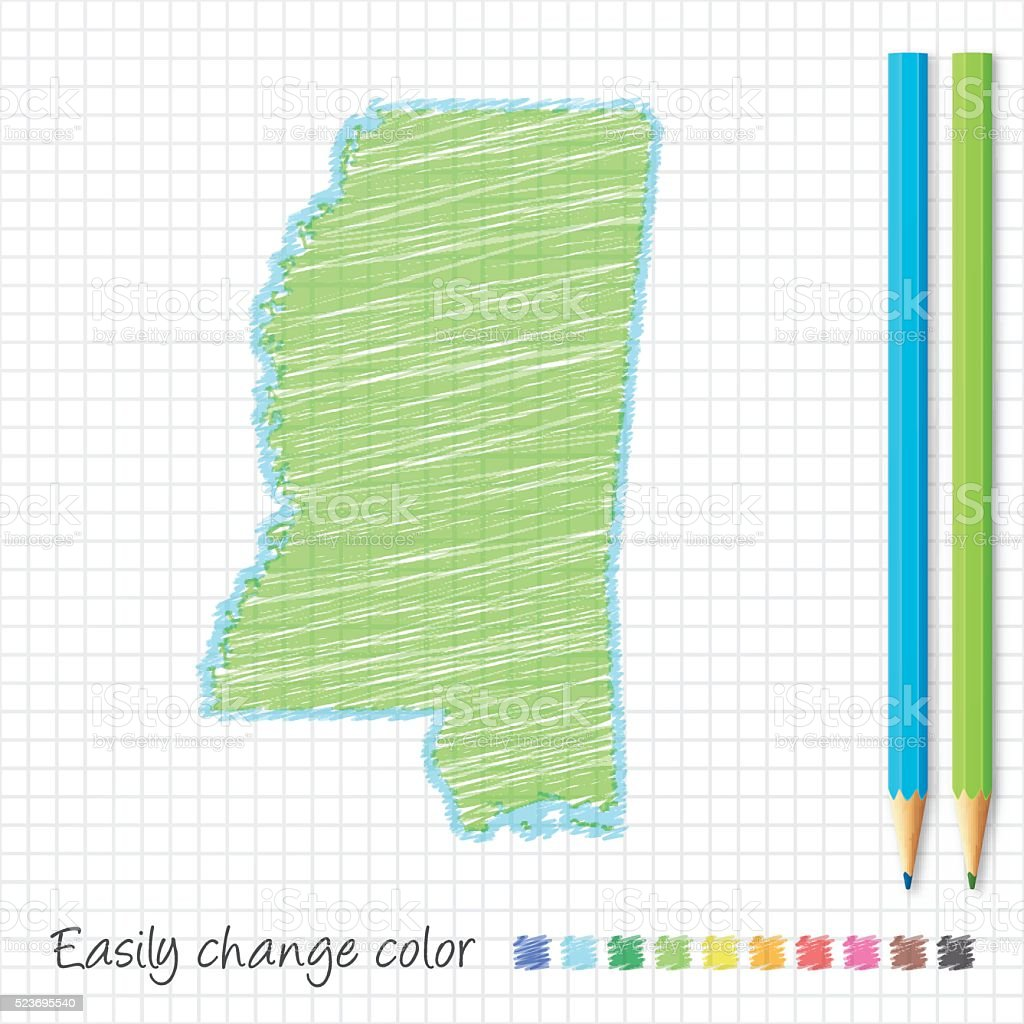 Mississippi map sketch with color pencils, on grid paper vector art illustration