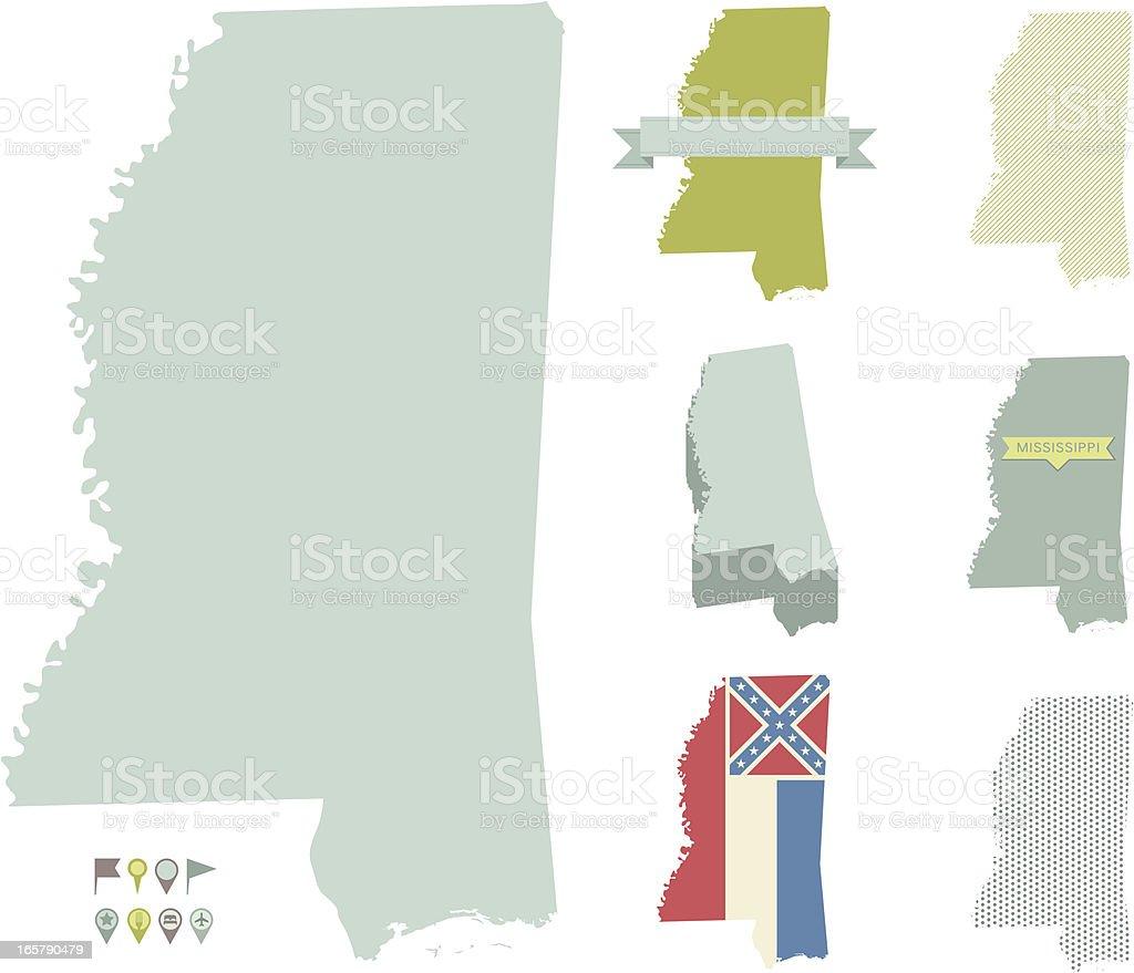Mississippi State Maps vector art illustration