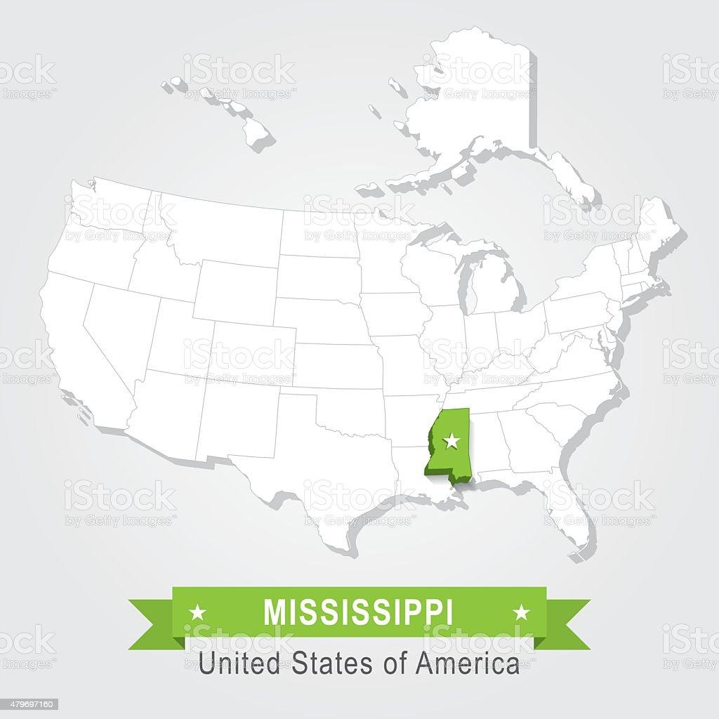 Mississippi state. USA administrative map. vector art illustration