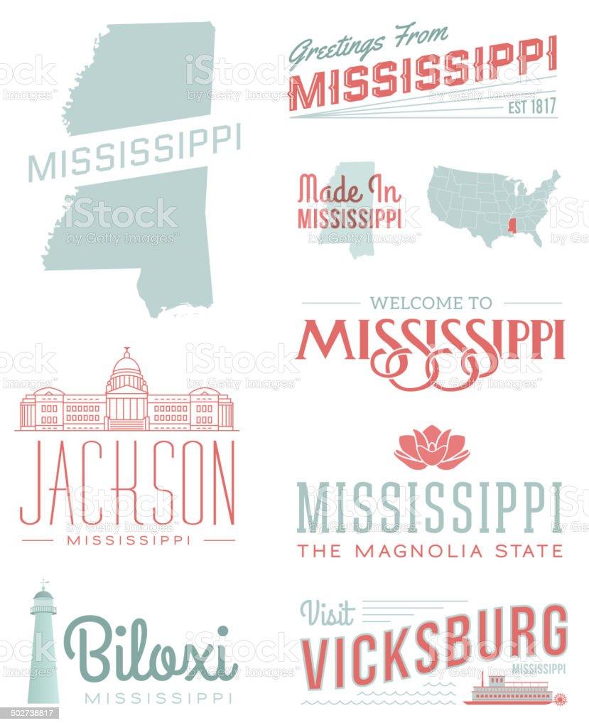 Mississippi Typography vector art illustration