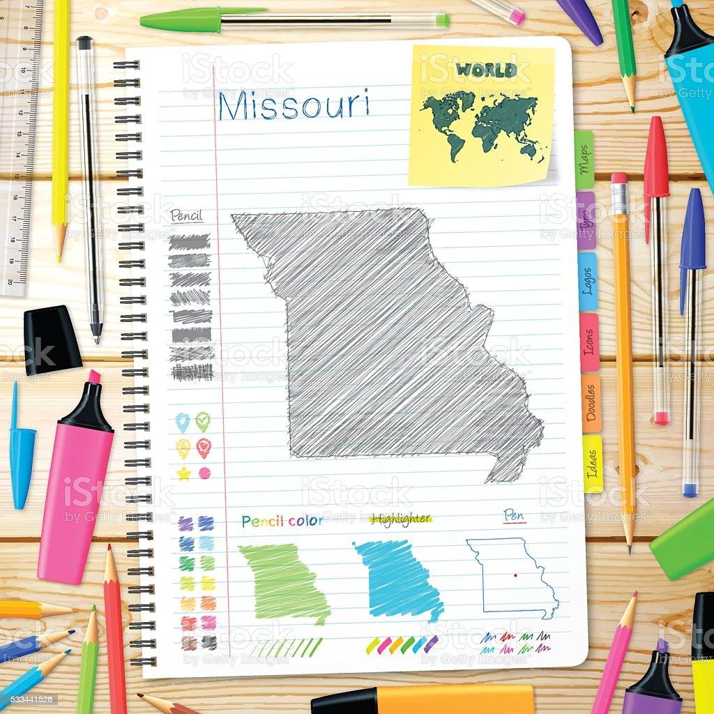 Missouri maps hand drawn on notebook. Wooden Background vector art illustration