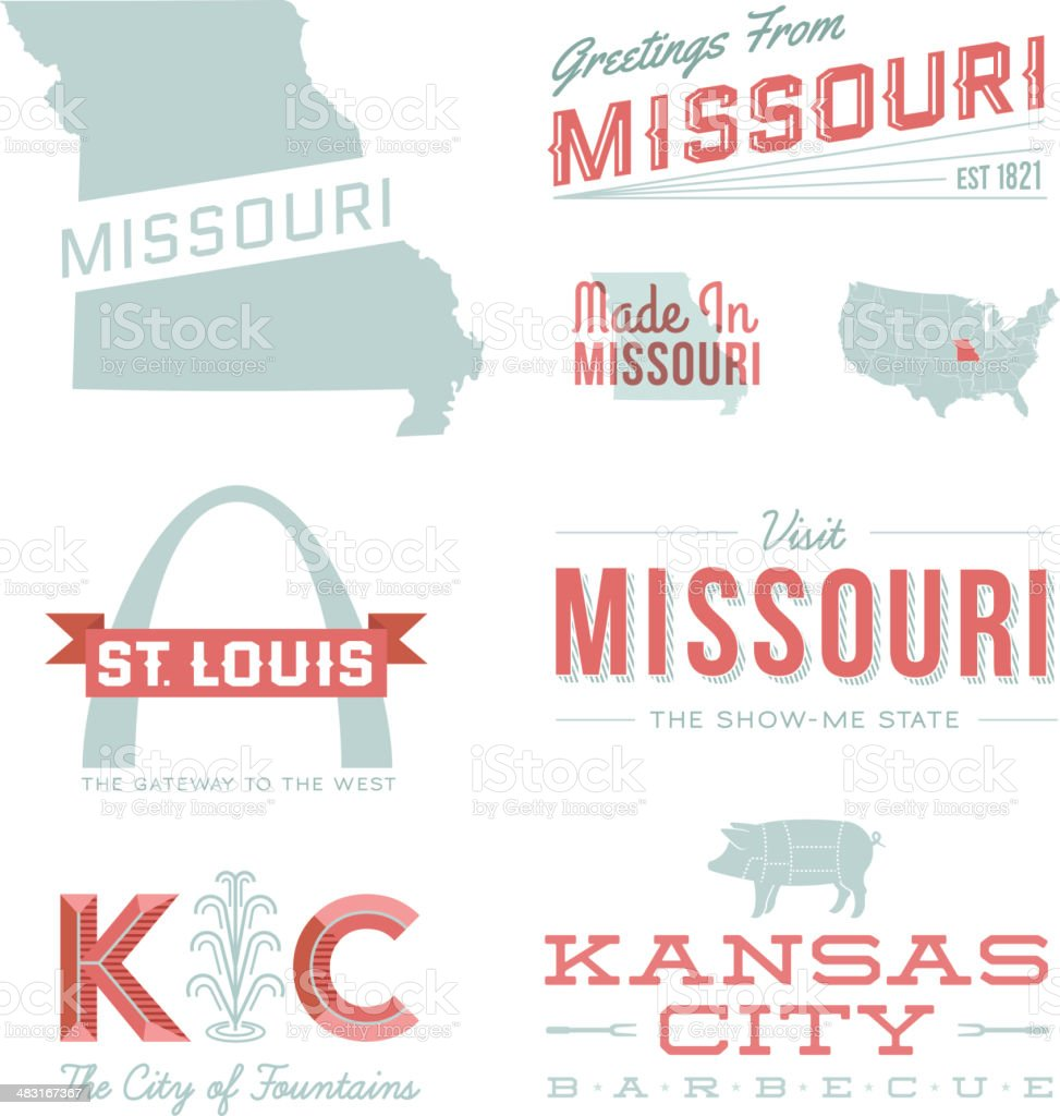 Missouri Typography vector art illustration