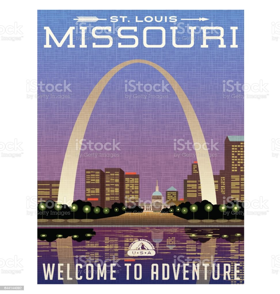 Missouri, United States travel poster or luggage sticker. Scenic illustration of the Gateway Arch and downtown St. Louis at night. vector art illustration