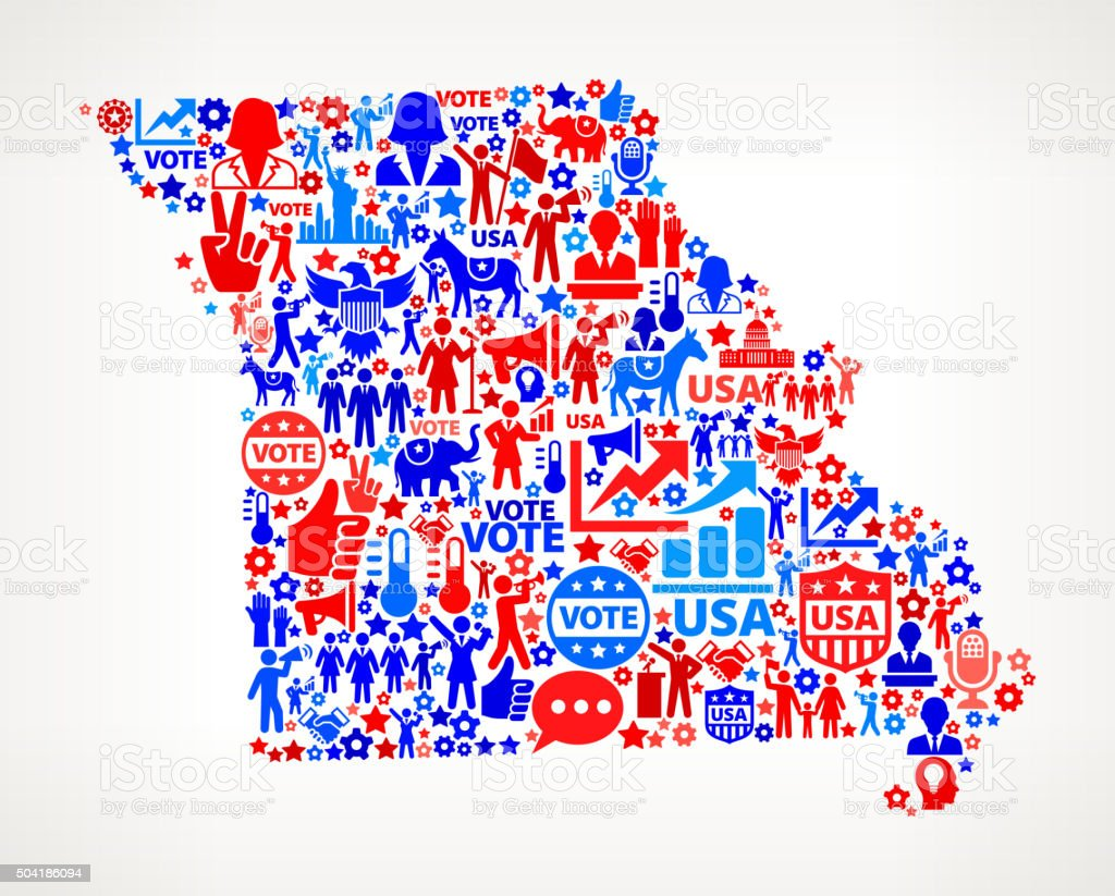 Missouri Vote and Elections USA Patriotic Icon Pattern vector art illustration