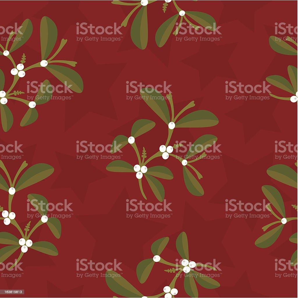 Mistletoe and stars seamless background pattern royalty-free stock vector art