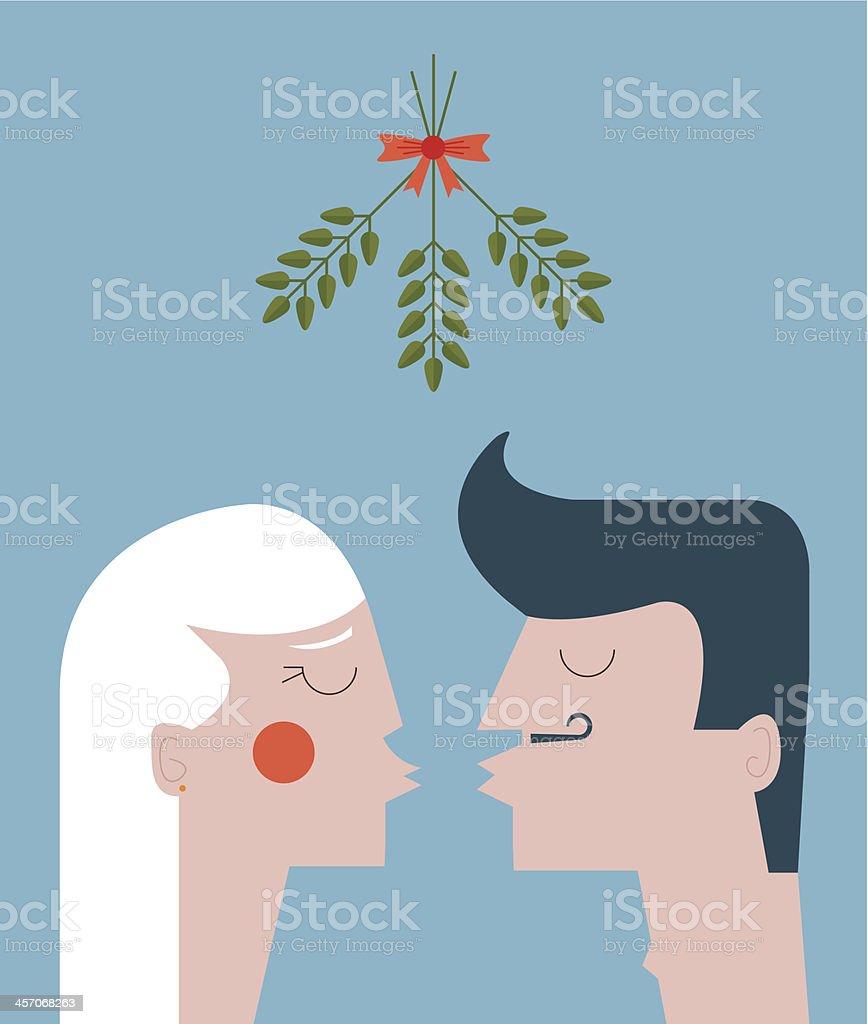 Mistletoe kiss vector art illustration
