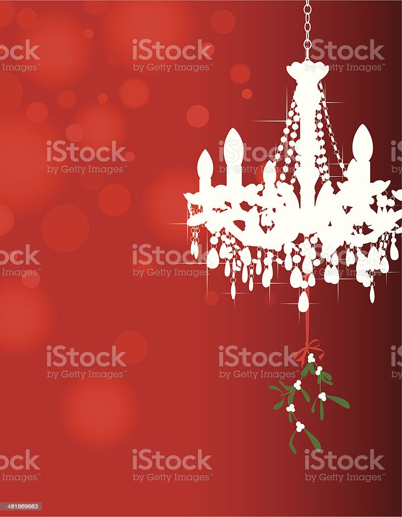 Mistletoe under the Chandelier on red royalty-free stock vector art