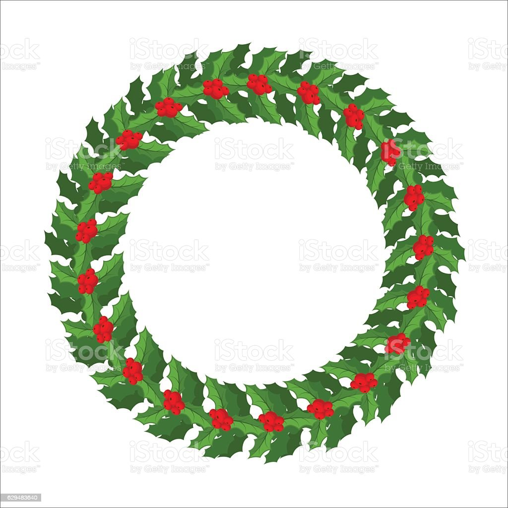 Why is holly a traditional christmas decoration - Christmas Circle Event Holly Branch Mistletoe Wreath Isolated Traditional Christmas Decoration