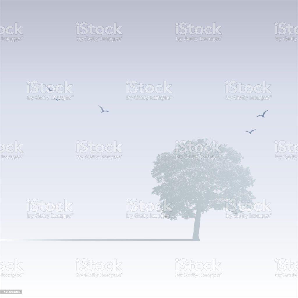 Misty Tree Scene vector art illustration