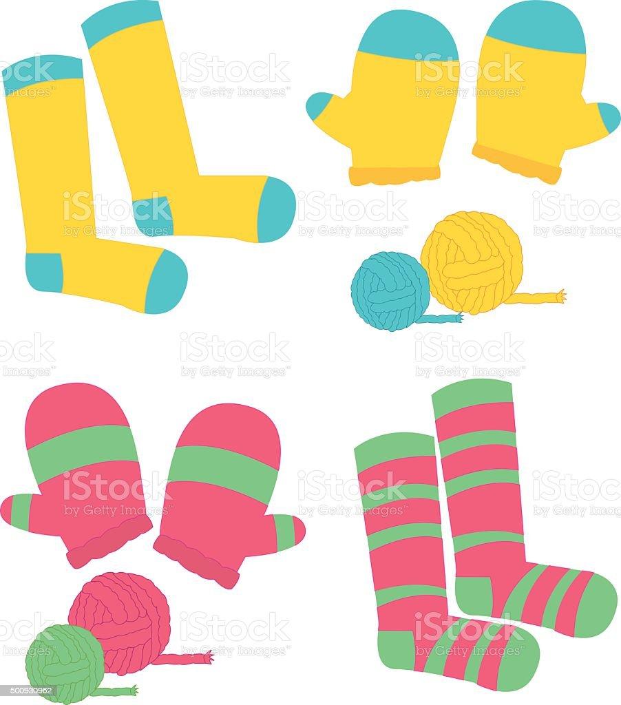 Mitten yarn vector art illustration