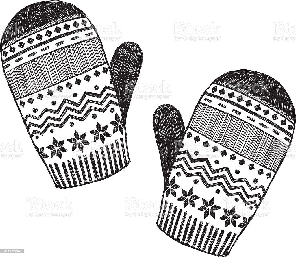 Mittens Sketch vector art illustration