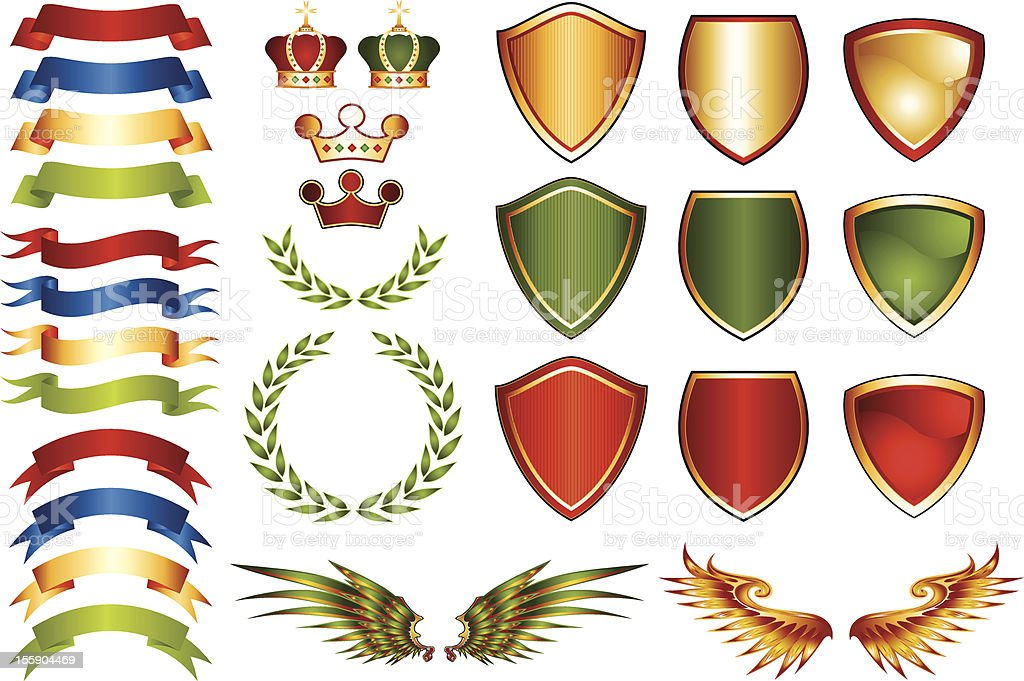 Mix and Match Coat of Arms Logo Icons vector art illustration