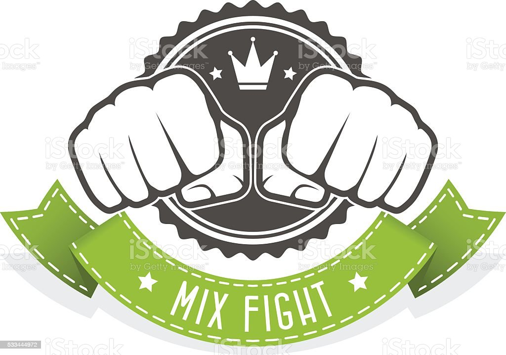 Mix Fight club emblem with two fists and banner vector art illustration