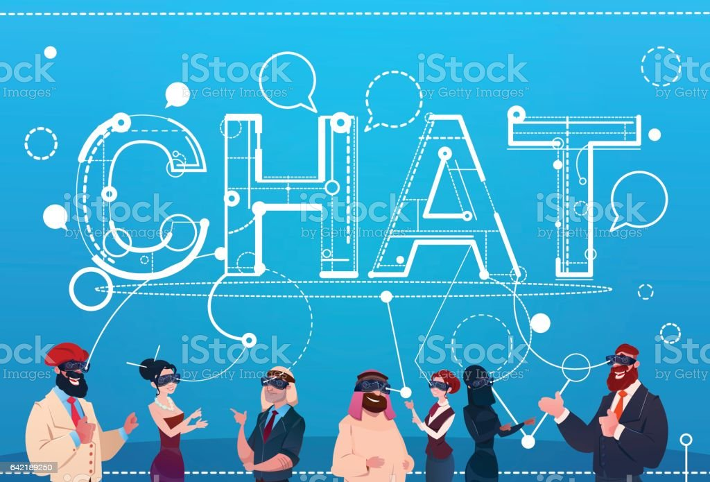Mix Race People Group Wear Digital Reality Glasses Chat Social Network Communication Concept vector art illustration