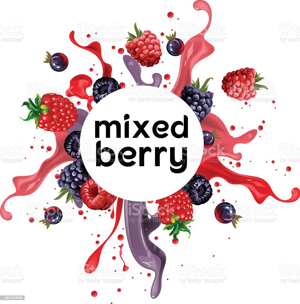 mixed berry punch drink vector art illustration