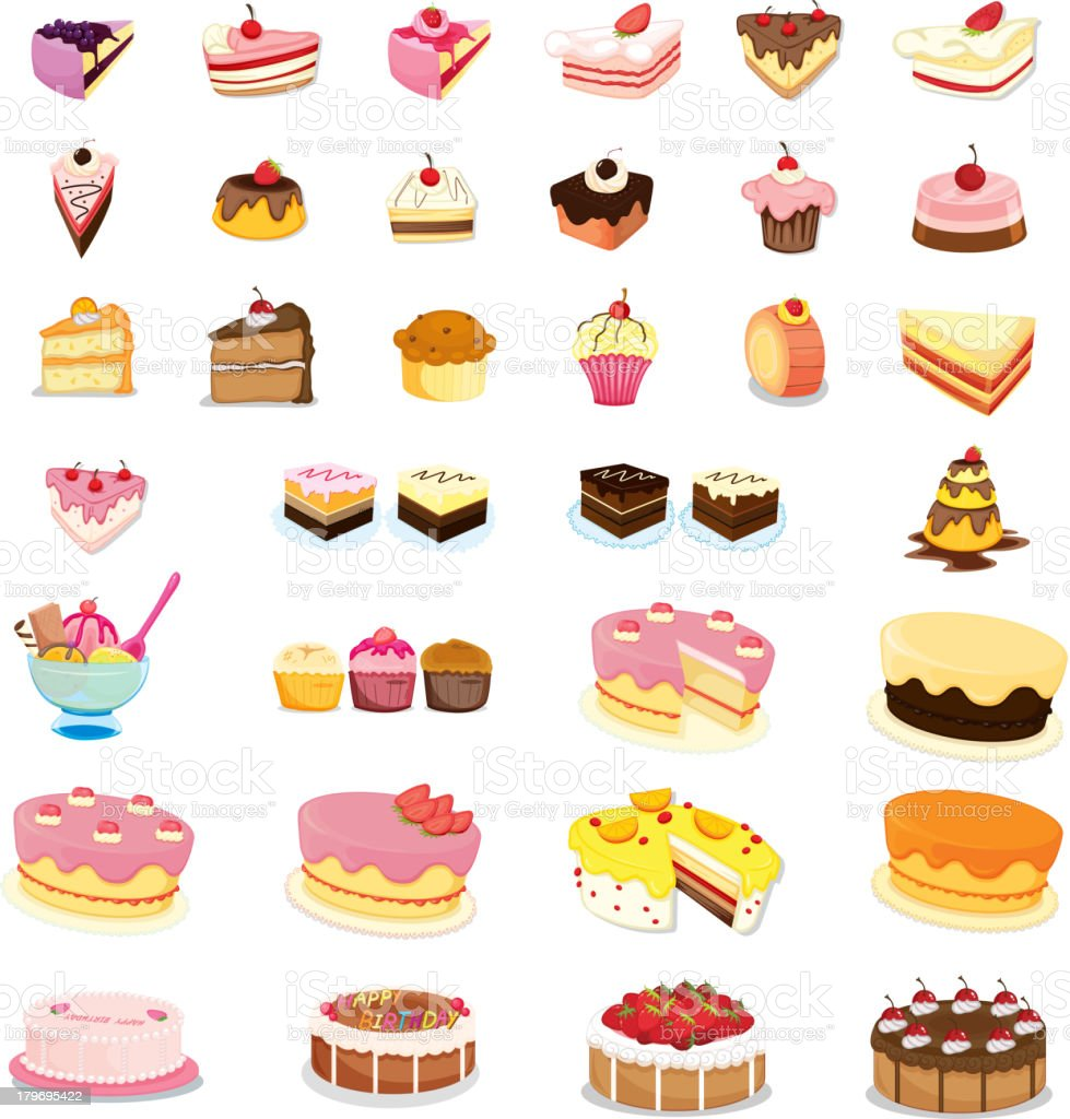 Mixed cakes and desserts royalty-free stock vector art