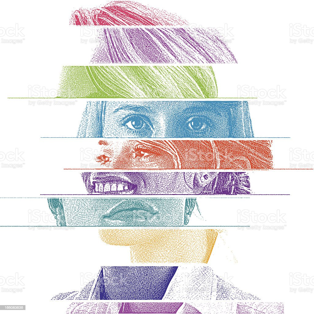 Mixed Emotions vector art illustration