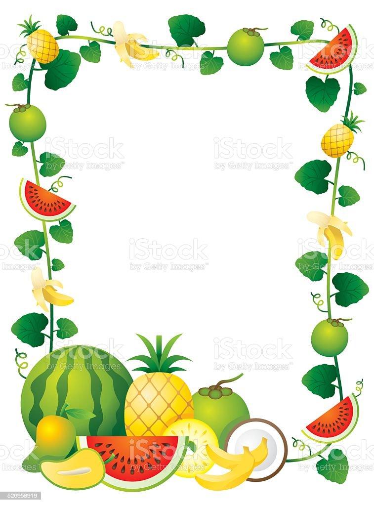 Mixed Fruits Border Frame stock vector art 526958919 | iStock