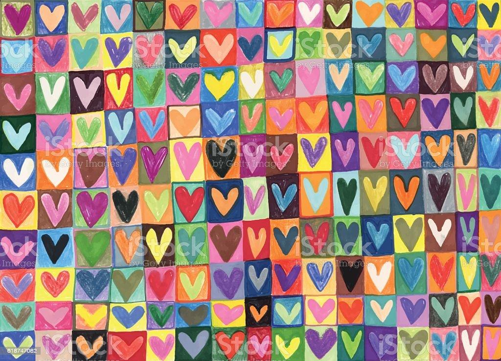Mixed media hand drawn love hearts pattern vector art illustration