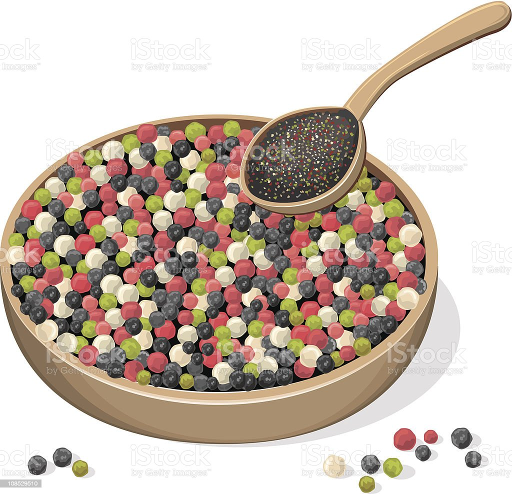 Mixed peppercorns on wooden plate and spoon vector art illustration
