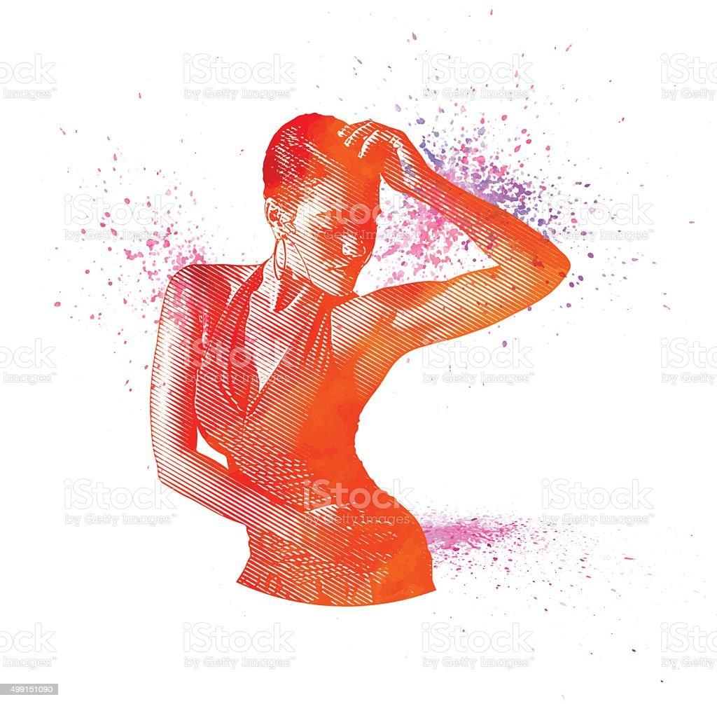 Mixed Race Woman Salsa Dancing vector art illustration