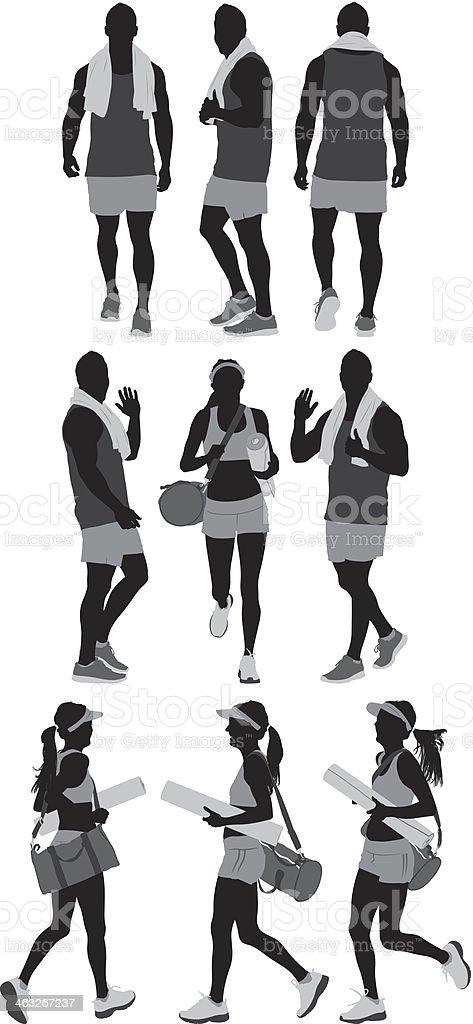 Mixed sports people vector art illustration