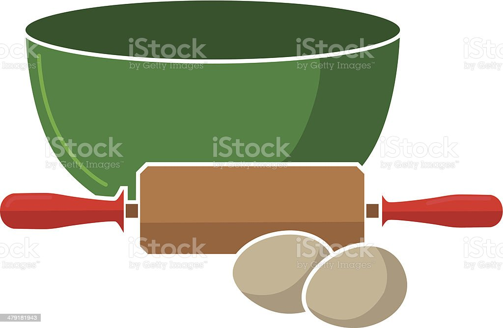 mixing bowl, rolling pin and eggs vector art illustration