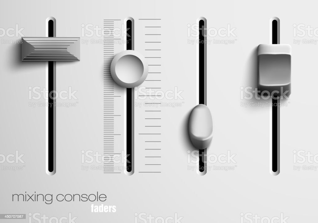 Mixing console faders on a mixing board vector art illustration