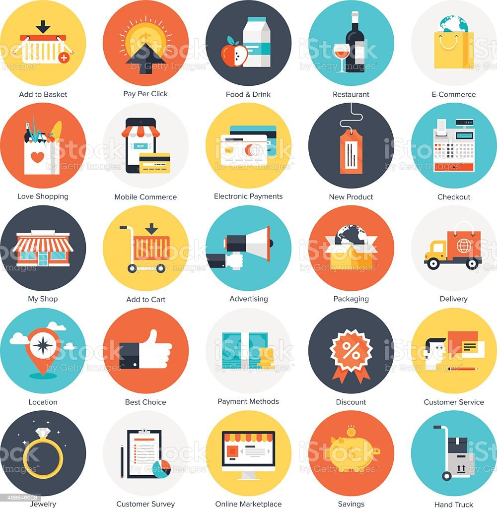 A mixture of different icons for shopping  vector art illustration