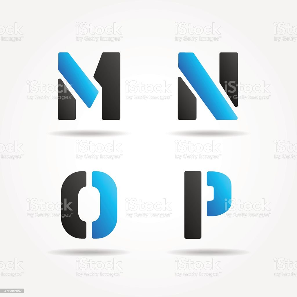mnop blue stencil letters royalty-free stock vector art