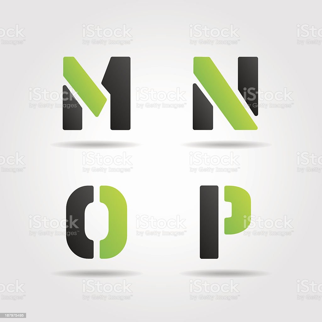 mnop green stencil letters royalty-free stock vector art