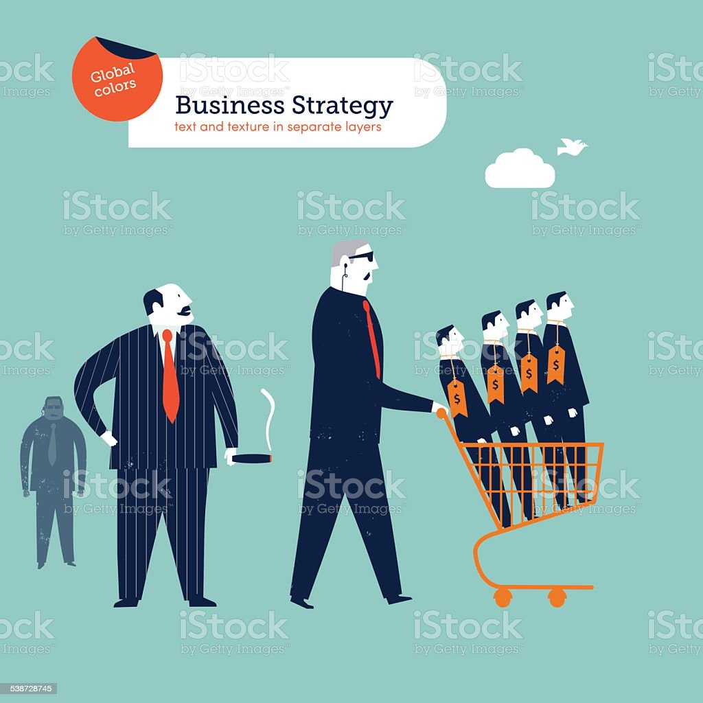Mob boss with body gard and cart with businessmen vector art illustration