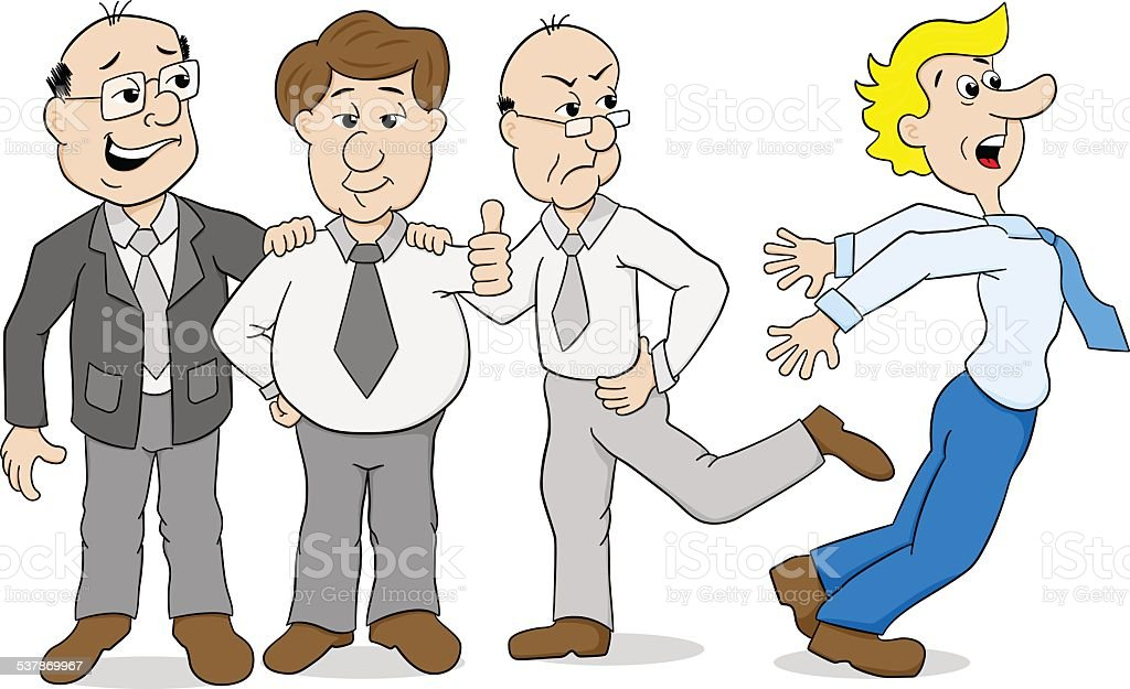 mobbing - colleagues who bully another vector art illustration