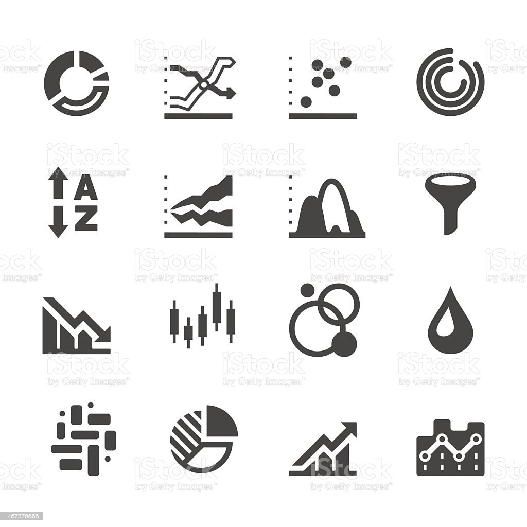Mobico icon set - Graph and charts vector art illustration