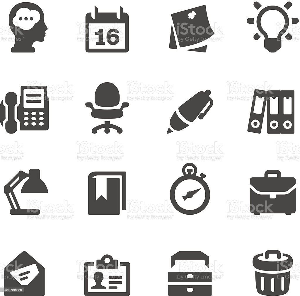Mobico icons — Office work vector art illustration