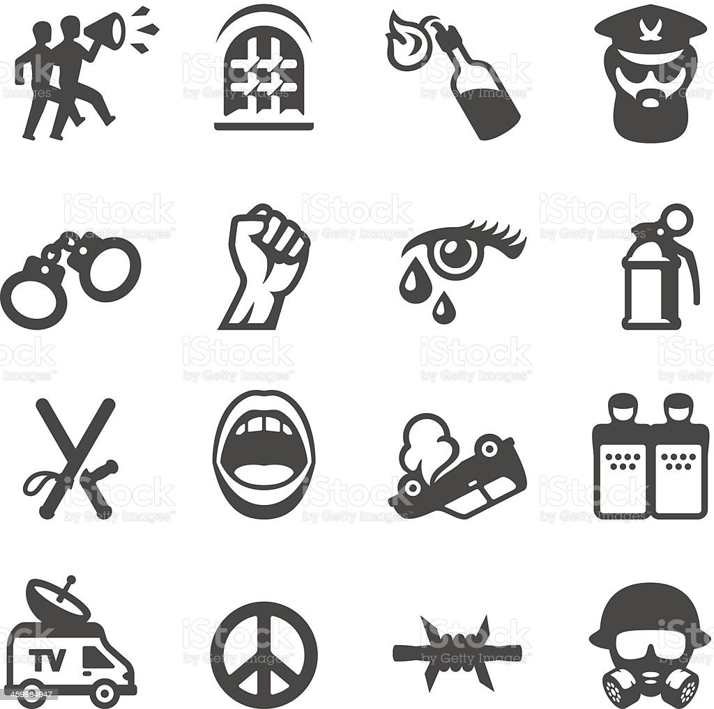 Mobico icons - Riot protest vector art illustration
