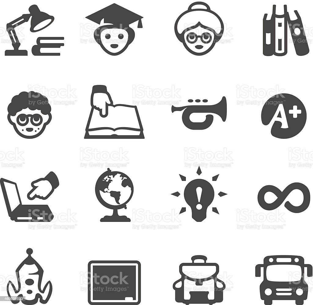 Mobico icons - School and Studying royalty-free stock vector art