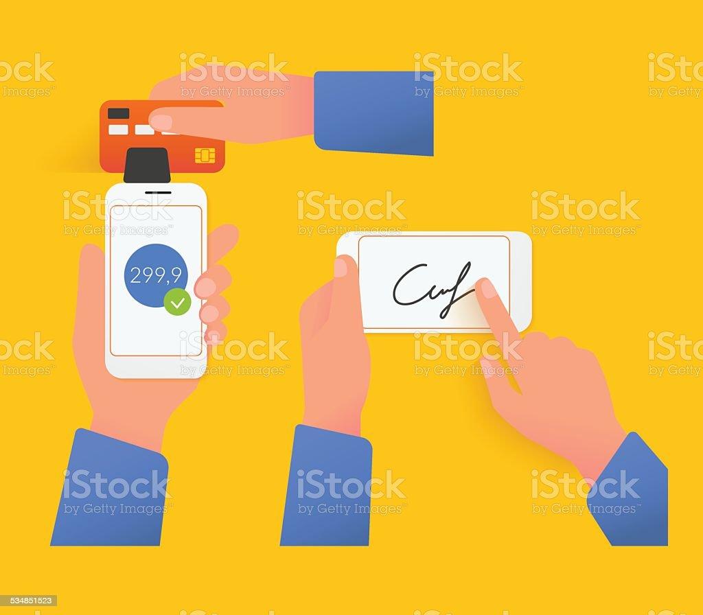 Mobile acquiring with signature vector art illustration