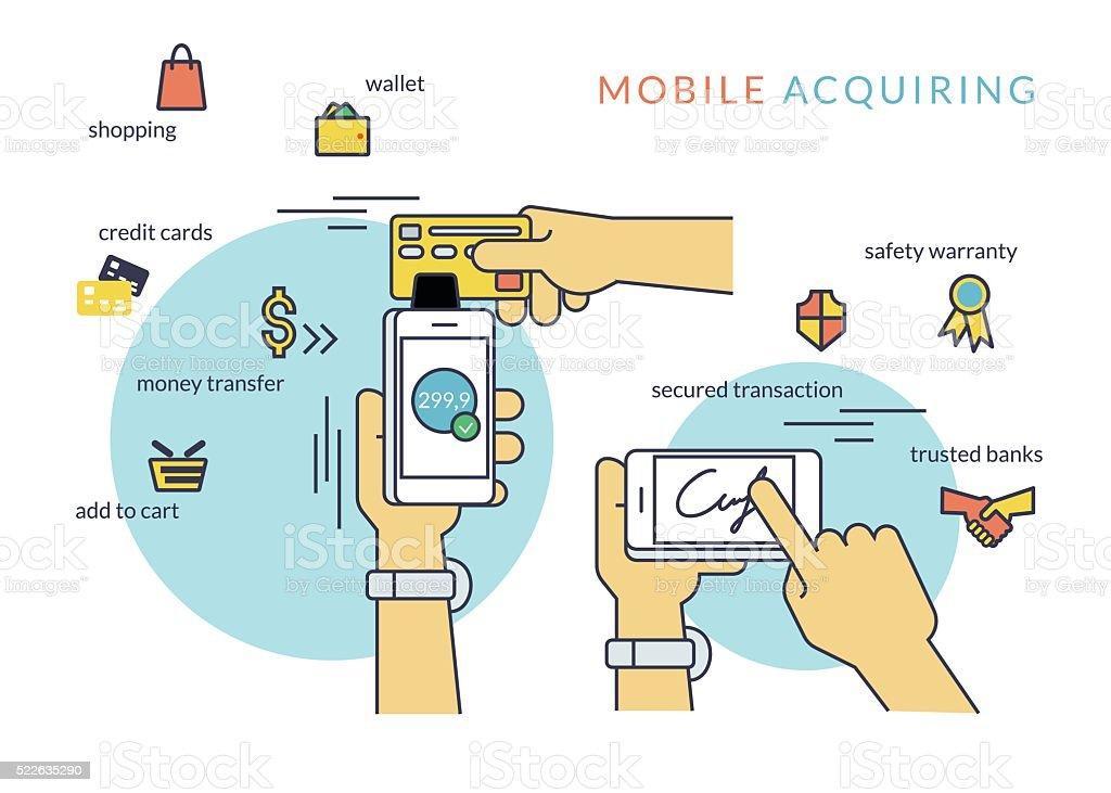Mobile acquiring with signature via smartphone vector art illustration