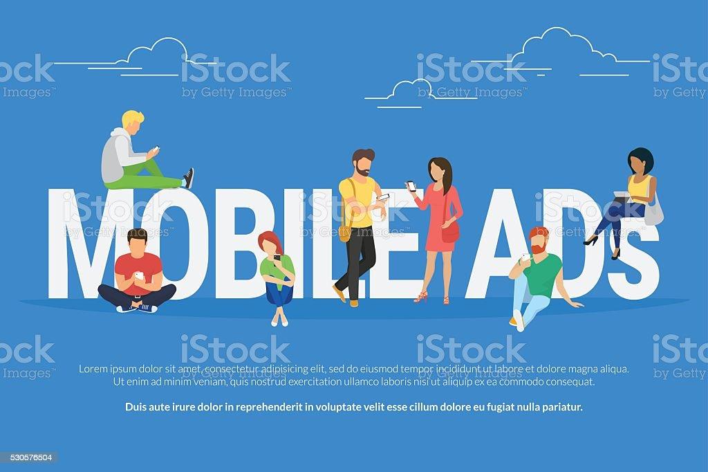 Mobile ads concept illustration vector art illustration