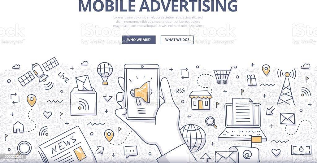 Mobile Advertising Doodle Concept vector art illustration