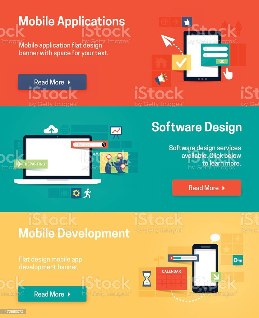 Mobile and Software App Design and Development vector art illustration