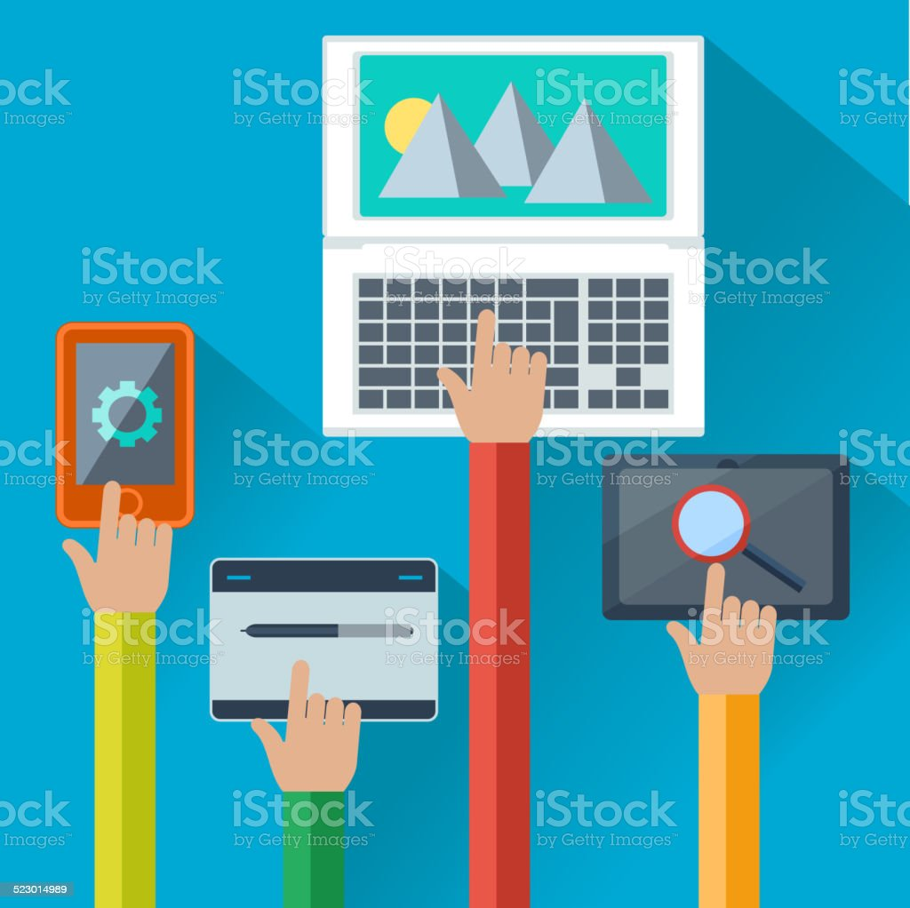 Mobile and web apps concept for digital devices vector art illustration