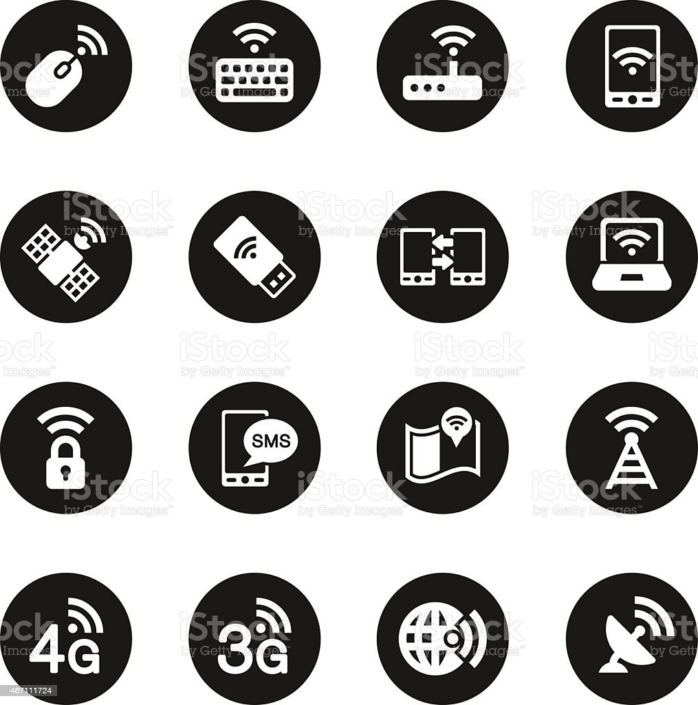 Mobile and Wireless Technology  Icons - Black Circle Series vector art illustration