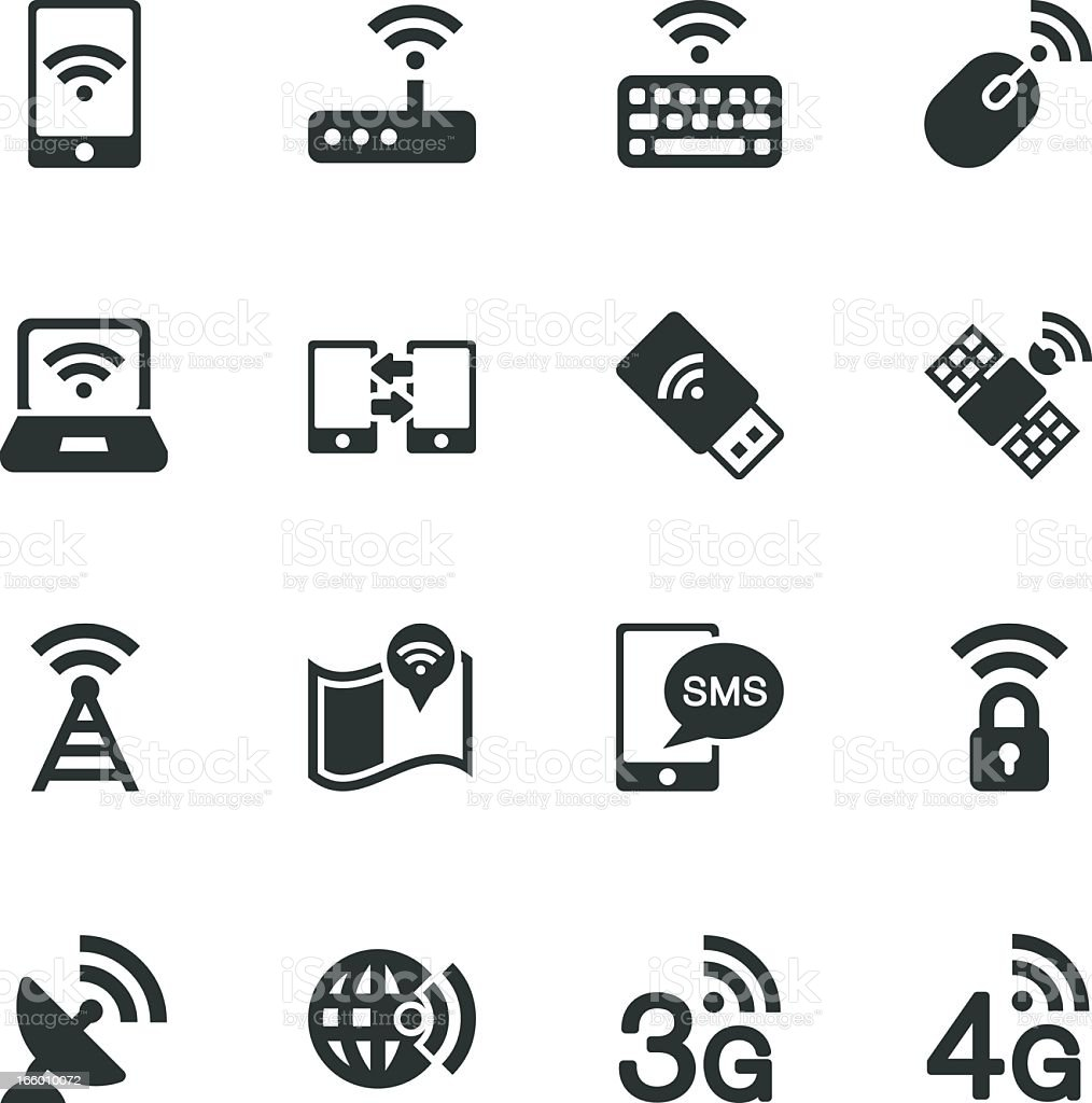 Mobile and Wireless Technology Silhouette Icons vector art illustration