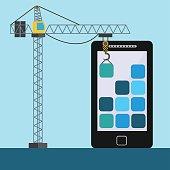 Mobile app design with crane lifting building blocks vector concept