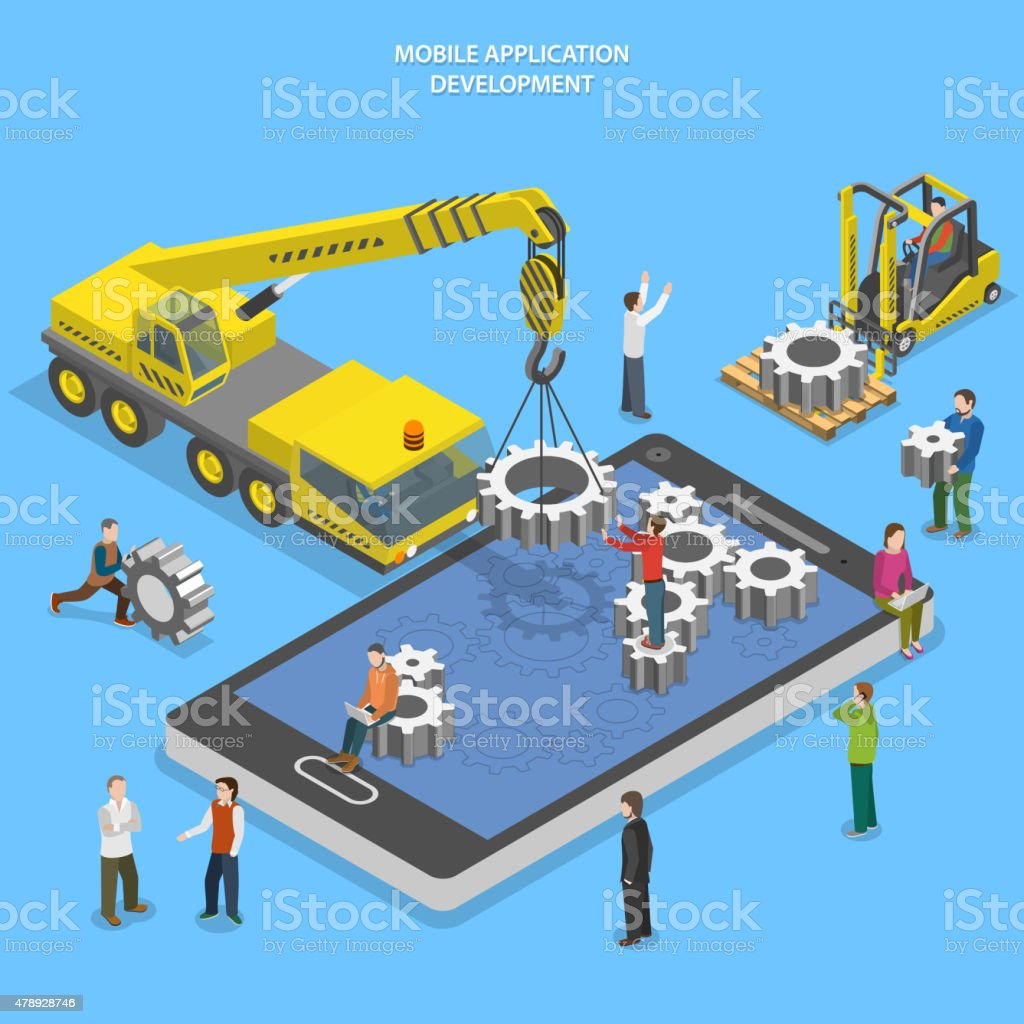 Mobile app development flat isometric vector vector art illustration