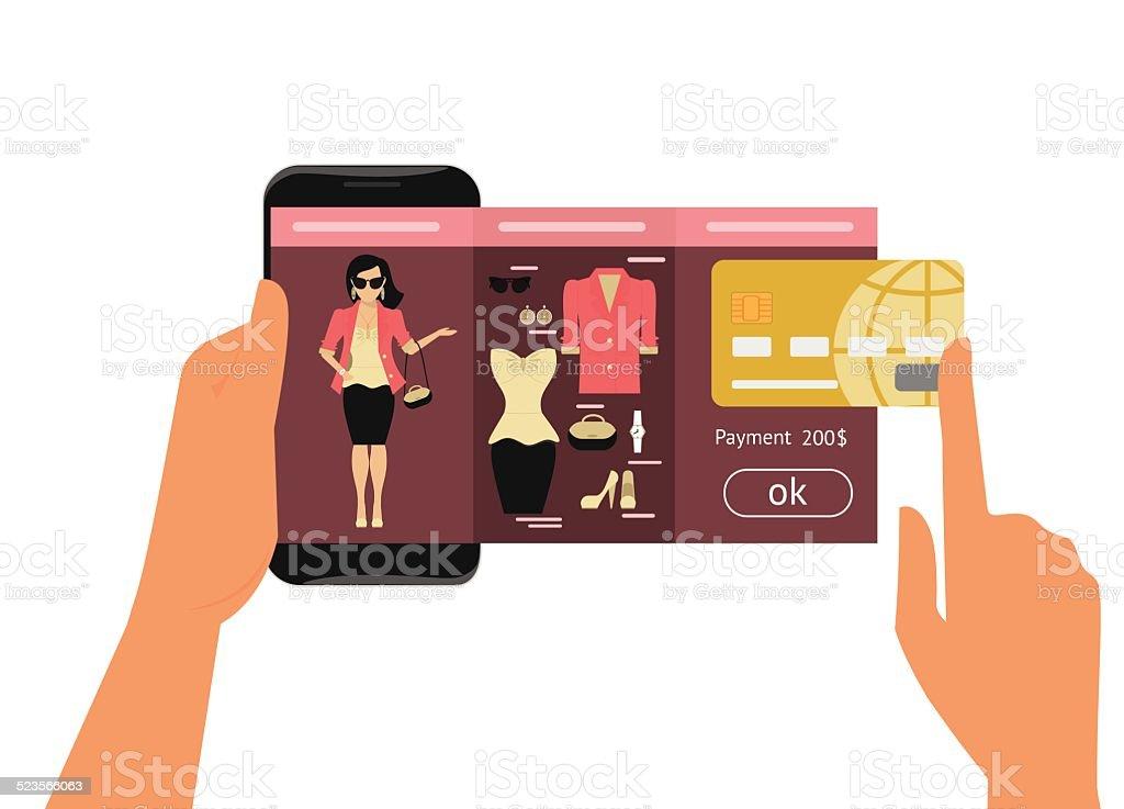 Mobile app for fashion shopping vector art illustration