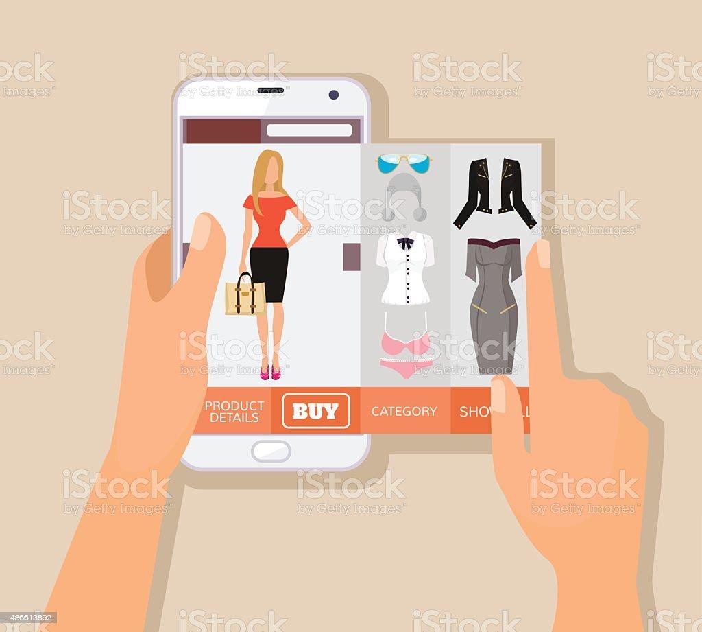 Mobile app for online shopping. Vector flat illustration vector art illustration